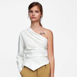 New with tags Zara asymmetric blouse sz M